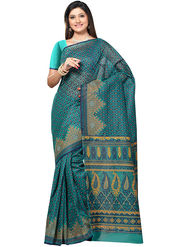 Triveni Printed Cotton Green Saree -tsb57