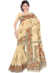 Triveni Embroidered Polycotton Beige Saree-Trv02