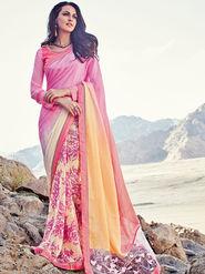 Triveni Printed Faux Georgette & Net Pink Sarees -Tsn621
