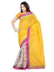 Triveni sarees Supernet Printed Saree - Multicolour - TSKCAK12808D