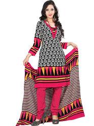 Triveni Blended Cotton Printed Dress Material - Black - TSSDHSK1109