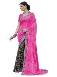 Triveni sarees Faux Georgette Printed Saree - Magenta - TSPP1862