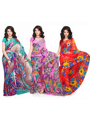 Combo of 3 Georgette Printed Saree -VD15968