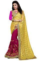 Khushali Fashion Embroidered Georgette Half & Half Saree_KF18