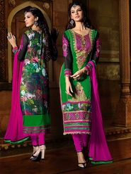Viva N Diva Georgette Embroidered Dress Material - Green