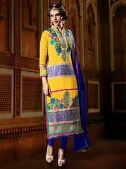 Viva N Diva Georgette Embroidered Dress Material - Yellow