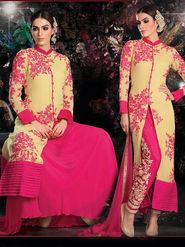 Viva N Diva Embroidered 2 in 1 Lehenga cum Salwar Suit - Beige - Aarvi-401