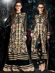Viva N Diva Embroidered 2 in 1 Lehenga cum Salwar Suit - Black - Aarvi-403