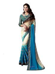 Khushali Fashion Georgette Saree(Cream,Sky Blue,Brown)_YNDF10227
