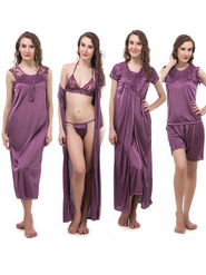Pack of 6 Klick2Style Satin plain Nightwear - Purple