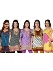 Pack of 5 Printed Ready Made Kurtis With Gold Plated Anklet