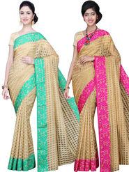 Combo of 2 Bhuwal Fashion Plain Jacquard Designer Saree -bhl18