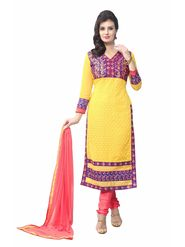 Khushali Fashion Georgette Embroidered Dress Material - Yellow - FRY08
