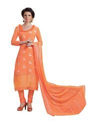 Khushali Fashion Chiffon Embroidered Dress Material - Orange - HSL1604