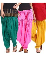 Combo of 3 Javuli Plain Pure Cotton Semi Patiala Salwar-ja58