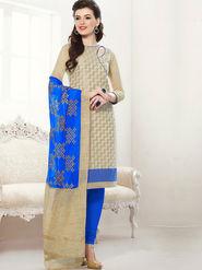 Viva N Diva Chanderi Jacqaurd Embroidered Dress Material - Beige - Color-Blossom-1003
