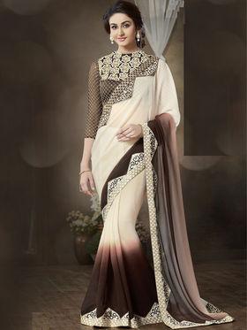 Nanda Silk Mills Stylish Fancy Pure Chiffon & Georgette Saree Beige Color Ethnic Party Wear Saree_Vr-1906
