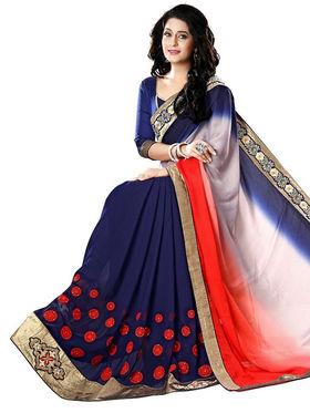 Nanda Silk Mills Blue Georgette Embroidered Saree With Blouse Piece_Gitanjli-4407