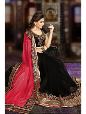 Pink and Black Georgette Embroidered Saree with Blouse Piece_JJ-SR-ADY-8017