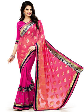 Nanda Silk Mills Multicolor Georgette Embroidered Saree With Blouse Piece_Enigma-4807