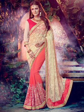 Indian Women Embroidered Georgette Cream & Orange Designer Saree -MG12313