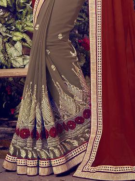 Indian Women Embroidered Chiffon & Georgette Maroon & Light Brown Designer Saree -MG12320