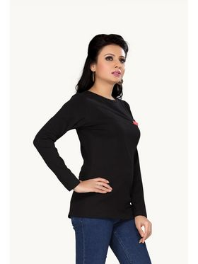 Ishin Cotton Solid Ladies Top - Black_INDWT-131