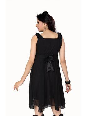 Ishin Georgette Solid Ladies Dresses - Black_INDWT-136