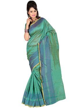 Carah Plain Cotton Silk Saree - Green_CRH-N240