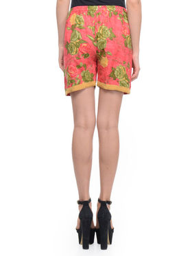 Lavennder Cotton Printed Ladies Short - Fuchsia_LW-5137