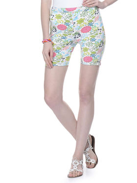 Lavennder Cotton Knitted Lycra Printed Short  - White_LW-5171