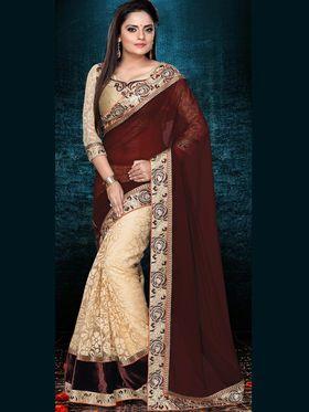 Shop Rajasthan Georgette Embroidered Saree - Brown & Gold_SRQ2483