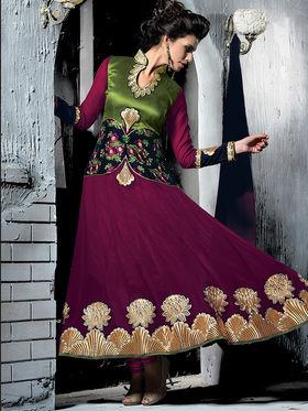 Viva N Diva Semi Georgette Embroidered Salwar Suit - Magenta_Cosmos-13004