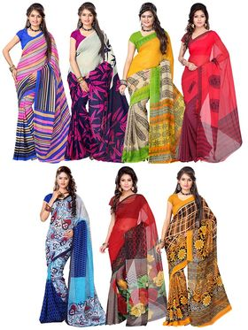 Combo of 7 Adah Fashions Georgette Printed Saree -ad11