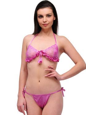 Oleva Set of 5 Satin String Intimate Bikinis