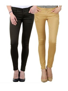 Pack of 2 Women Slim Fit Cotton Lycra Stretchable Trouser - TGLCH-24