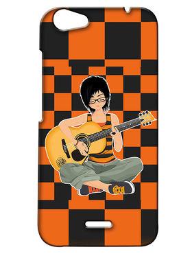 Snooky Digital Print Hard Back Case Cover For Micromax Bolt Q338 - Orange