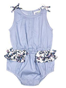 ShopperTree Solid Sky Blue Cotton Romper -ST-1652_6-12M