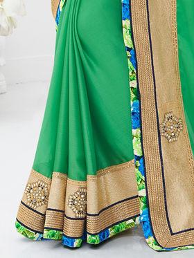 Indian Women Embroidered Satin Chiffon Green Designer Saree -GA20307