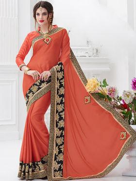 Indian Women Embroidered Satin Chiffon Orange Designer Saree -GA20316
