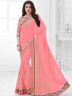 Indian Women Embroidered Georgette Pink Designer Saree -GA20320
