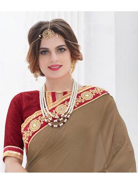 Indian Women Embroidered Satin Chiffon Dark Beige Designer Saree -GA20330