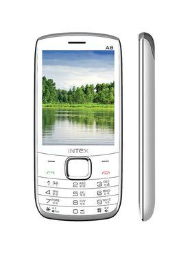 Intex Turbo A8 3.2 Inch Dual Sim Phone - White & Grey