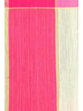 Zoom Fabrics Plain Cotton Silk Beige & Pink Saree -4051D