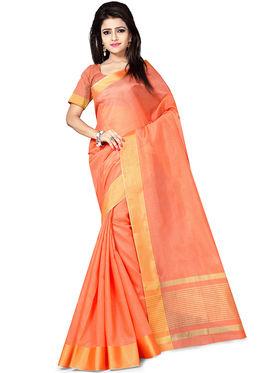 Zoom Fabrics Plain Cotton Silk Orange Saree -4053A