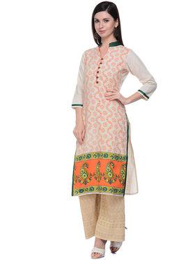 Lavennder Khaadi Printed Off White Long Straight Kurta - 623553