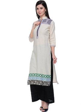 Lavennder Khaadi Printed Off White Long Straight Kurta - 623558