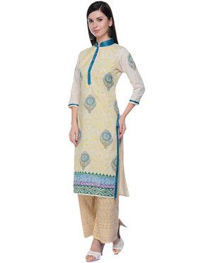 Lavennder Khaadi Printed Off White Long Straight Kurta - 623564