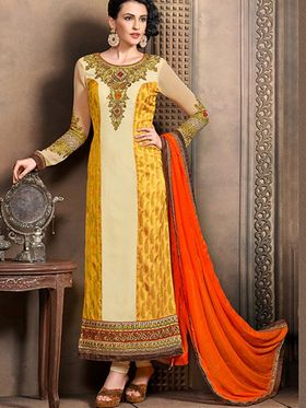 Adah Fashions Embroidered  Georgette & Chanderi Jekard Semi-Stitched Suit 705-1103