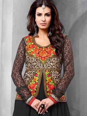 Adah Fashions Embroidered� Faux Georgette Semi-Stitched Suit 734-1002